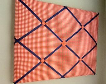 "Orange Gingham & Navy Blue 16""x20"" Memory board, Bow Board, Ribbon Board, Bow Holder, Business Card Holder, Photograph Holder, Memo Board"