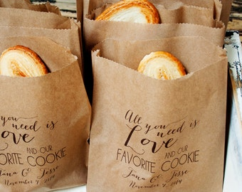 Cookie Favor Bag  - Personalized Wedding Cookie Treat Bag - Love and Cookies - 20 Baked Goods Bags