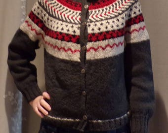 HANDMADE NORDIC WOOL sweater scandinavian cardigan fair isle S M
