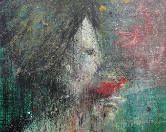 """Original Painting, Abstract Expressionist, Paint Splatter, Woman Drinking Wine, Birds Flying, Home Decor, Wall Art, Large Painting, 48 x 60"""""""