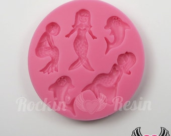 Dolphin & Mermaid SILICONE MOLD, Food Grade, Flexible, push mold, chocolate mold, candy mold, resin mold, clay mold