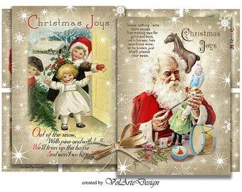 Printable christmas cards - digital christmas gift tags - printable gift tags - digital collage sheet - printable download - set of 2 x 8