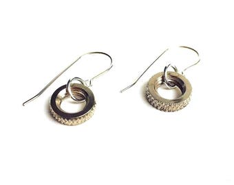 Bike earrings, Mother's Day, Presta valve, Bike jewelry, Recycled bike parts, Bike gift, Bicycle, Mom, Industrial, Dangle earrings, Hardware