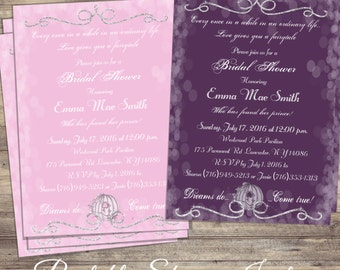 Cinderella Bridal Shower Invitations, Cinderella digital shower Invitation, Fairytale Quinceanera Invitations, cinderella wedding invitation