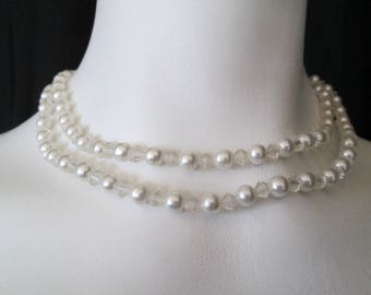 "Vintage double strand of faux pearls and crystal glass necklace measures 15"" and 17"""