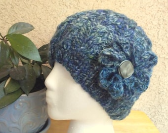 Dark Blue and Very Pale Green Cable Knit Hat. Ready to Ship. Knit Hat. Winter Hat. Handspun Hat. Optional Crocheted Flower. Wool Hat for Her