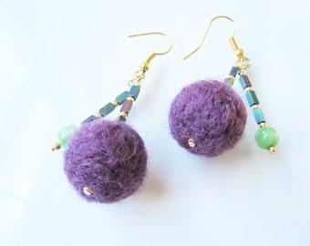 Felt & Bead Earrings - Plum/Green