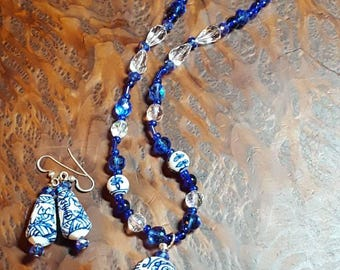 Porcelain and Crystal necklace and earring set.