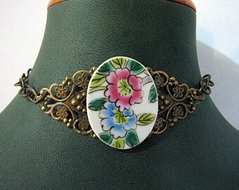 Porcelain Ming Pottery shard choker with Brass chain