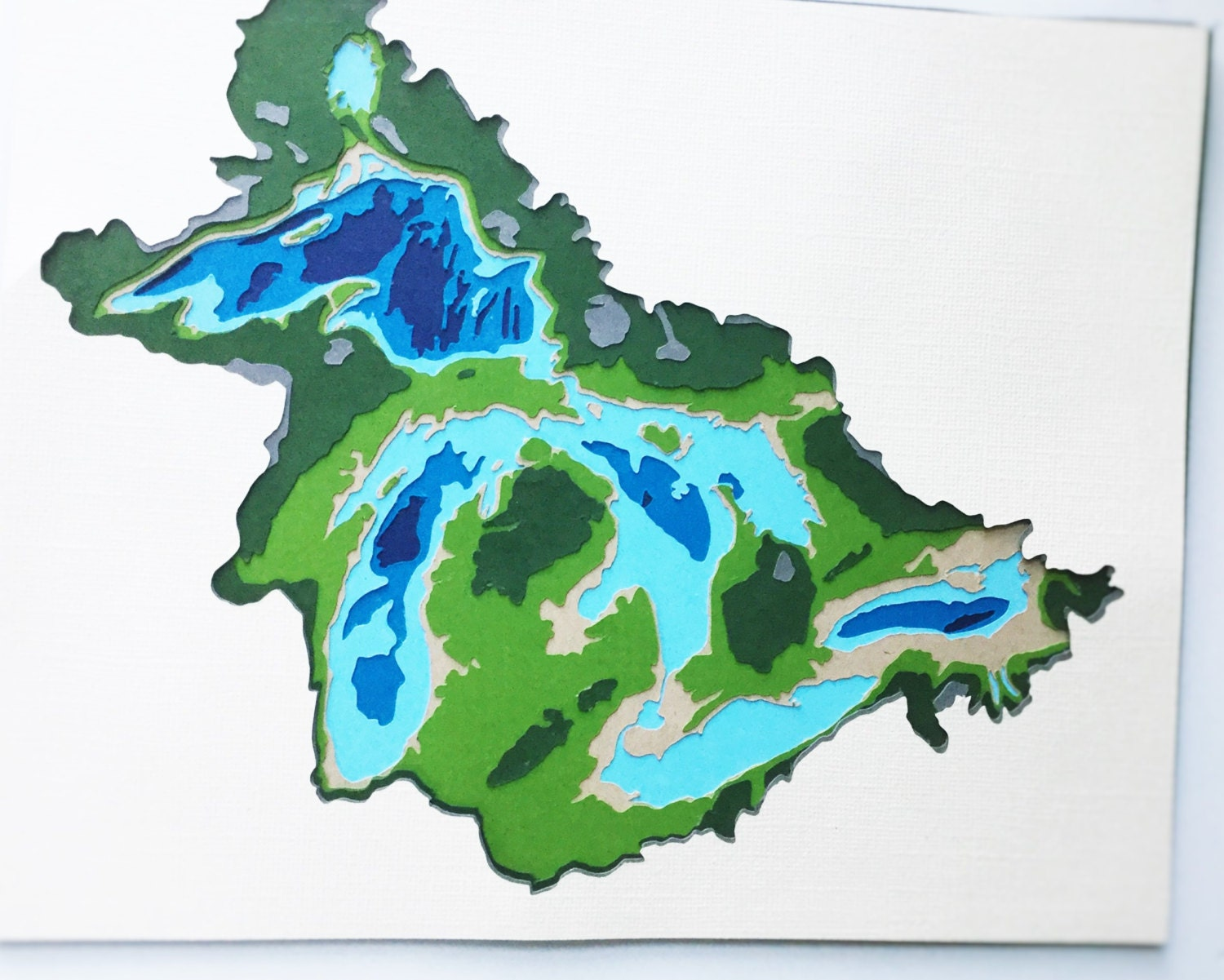 Great Lakes Topographic Map Layered Cardstock Creating A 3d