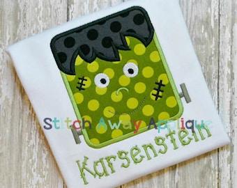 Frankenstein Halloween Machine Applique Design