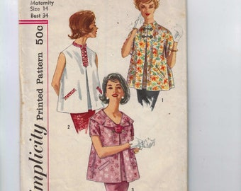 1960s Vintage Sewing Pattern Simplicity 3344 Misses Maternity Top Blouse Inverted Pleat Size 14 Bust 34 60s  99