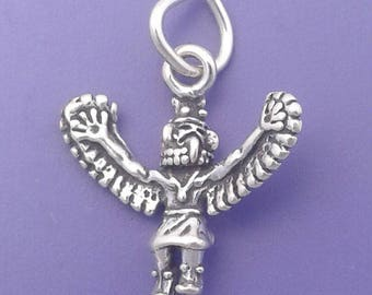 EAGLE DANCER Kachina Charm .925 Sterling Silver, Native American Indian Pendant - lp1814