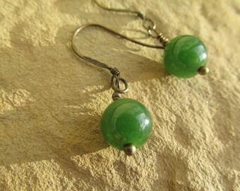 Jade earrings nephrite earrings nephrite jade earrings gemstone earrings sterling silver gemstone beaded earrings jade gift jade jewelry.