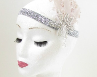 Cream & Silver Feather Vintage Headpiece 1920s Great Gatsby Flapper Headband 906