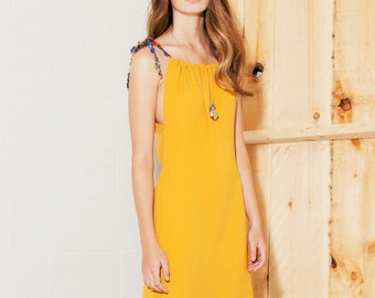 Women Dress saffron yellow with silk cords ((ON SALE))