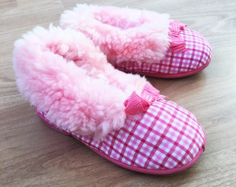 60's Pink Fluffy Slippers New Old Stock Made in Scotland EU 24