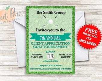 Golf Event Invite 5x7 Digital Personalized Corporate Company Business Golf Event Fundraiser Fundraising Tournament Invitation #81.0