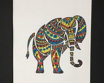Original abstract elephant artwork
