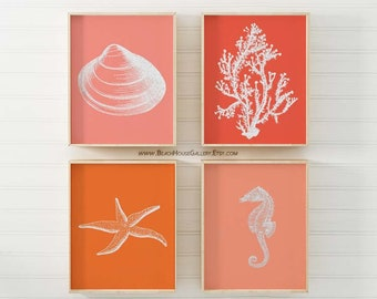 Beach Decor Coral Prints, Seashell, Starfish Seahorse, Tangerine Orange Pink Coral, Set 4, Coral Wall Art, Coral Print, Orange Coral