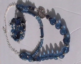 Dark blue  multi strand jewelry set