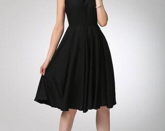linen summer dress, little black dress, fit and flared dress, cape sleeve dress, LBD, womens dresses, midi dress, handmade dress (1263)