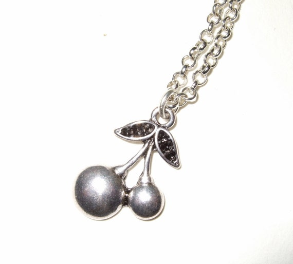 Cherry Necklace, Cherries Charm, Simple Necklace, Everyday Jewelry, Silver Cherry Charm, Rockabilly Necklace, Cherry Charm, Cherry Jewelry
