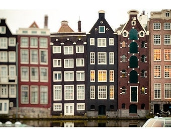 Amsterdam Photography Print - Architectural print, Brown, Beige, Canal