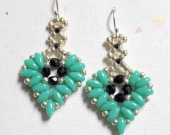 SuperDuo Beadwoven Earrings, Heart Earrings, Beaded Earrings, SuperDuo Beads,Seed Bead Earrings, Turquoise Jewelry, Hearts, MyBeads4You
