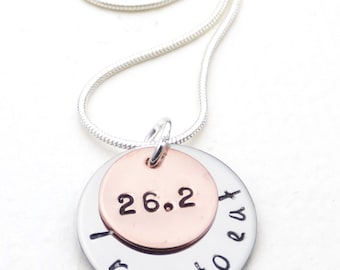 Customizable Marathon Runner's Necklace   Hand Stamped Jewelry   26.2   Hand Stamped Runner's Gift   Marathon Gift   Runner's Jewelry