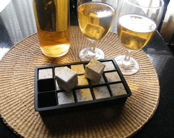 Stone Ice Cubes/Barware/Granite Ice Cube Set/ Whiskey Stones/Stone Bar Set