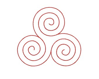 Machine Embroidery Design Instant Download - Celtic Knotwork Triskele 2 Quilting Redwork