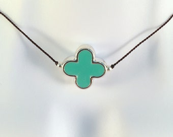 Iridescent Silver and Turquoise Enamel Quatrefoil Necklace