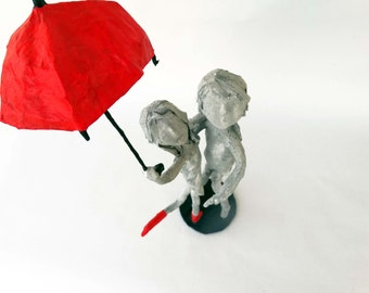 paper mache,wedding gift,free shipping,art sculpture,romantic couple,black,grey,red,umbrella,art,home decor,sculpture,color with love,rain.