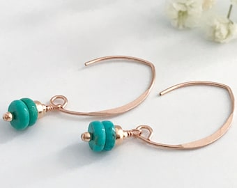 Turquoise Earrings - Rose Gold Earrings - Gift for Women - Turquoise Jewelry - Gift for Her - Long Earrings - Silver Earrings