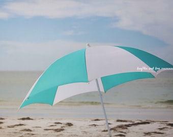 Aqua White Umbrella Photo, Beach Photography, Teal Turquoise Seaside, Coastal Decor, Tropical Nautical Beach House Home Decor Wall Art
