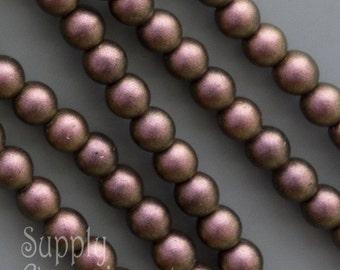4mm Polychrome Jet Copper Ombre Druk Beads, 40 Beads, Jet Copper Ombre 4mm Smooth Round Druk Beads, 3093, Jet Copper Ombre Czech Beads