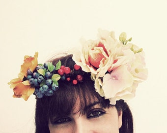 OPHELIA Floral Wreath, WOODLAND Flower crown, flower headband,tropical flower Wreath, flower queen, Hippie Headband forest crown Amazon