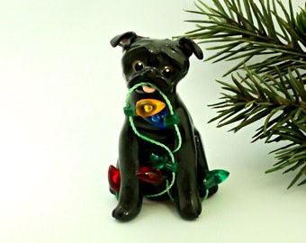 Pug Black PORCELAIN Christmas Ornament Figurine Lights OOAK