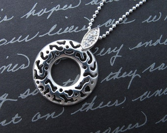"""filigree ring - 24"""" long sterling silver charm necklace with cubic zirconia inset"""