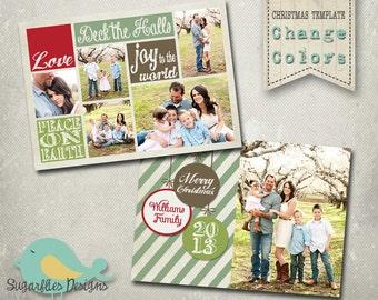 Christmas Card PHOTOSHOP TEMPLATE - Family Christmas Card 94