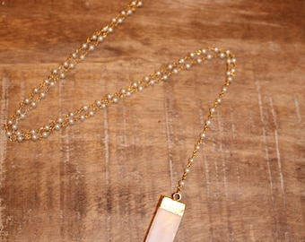 Long Pearl Rosary Chain Y Necklace with White Selenite Pendant | Gold Layering Necklace, Y Necklace, Gold Necklace