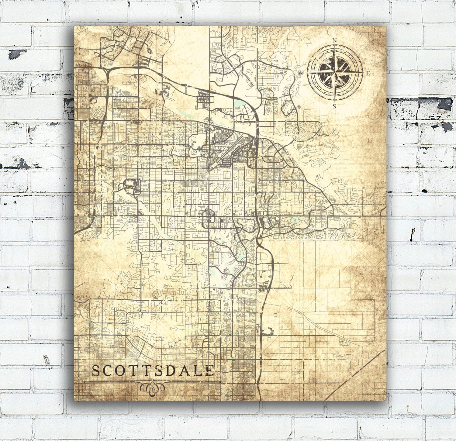 SCOTTSDALE AZ Canvas Print Arizona Vintage map Scottsdale City