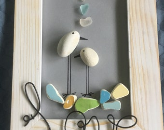 Sea glass art/ vintage sea pottery shards/ Love/ Wedding Gift/ Unique Anniversary Gift/ Birthday gift/ one-of-a-kind gift