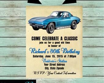 Classic car invite Etsy
