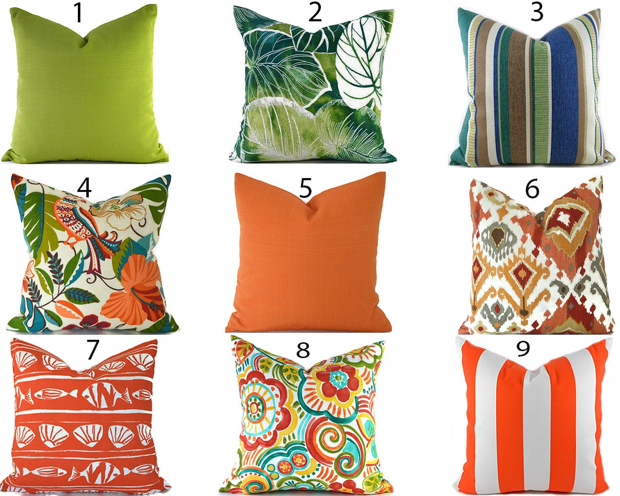 orange outdoor pillows any size outdoor cushions outdoor
