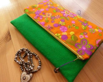Vintage Fabric Fold Over Clutch, 1960s fabric, floral clutch, green clutch, orange clutch, bridesmaids gift