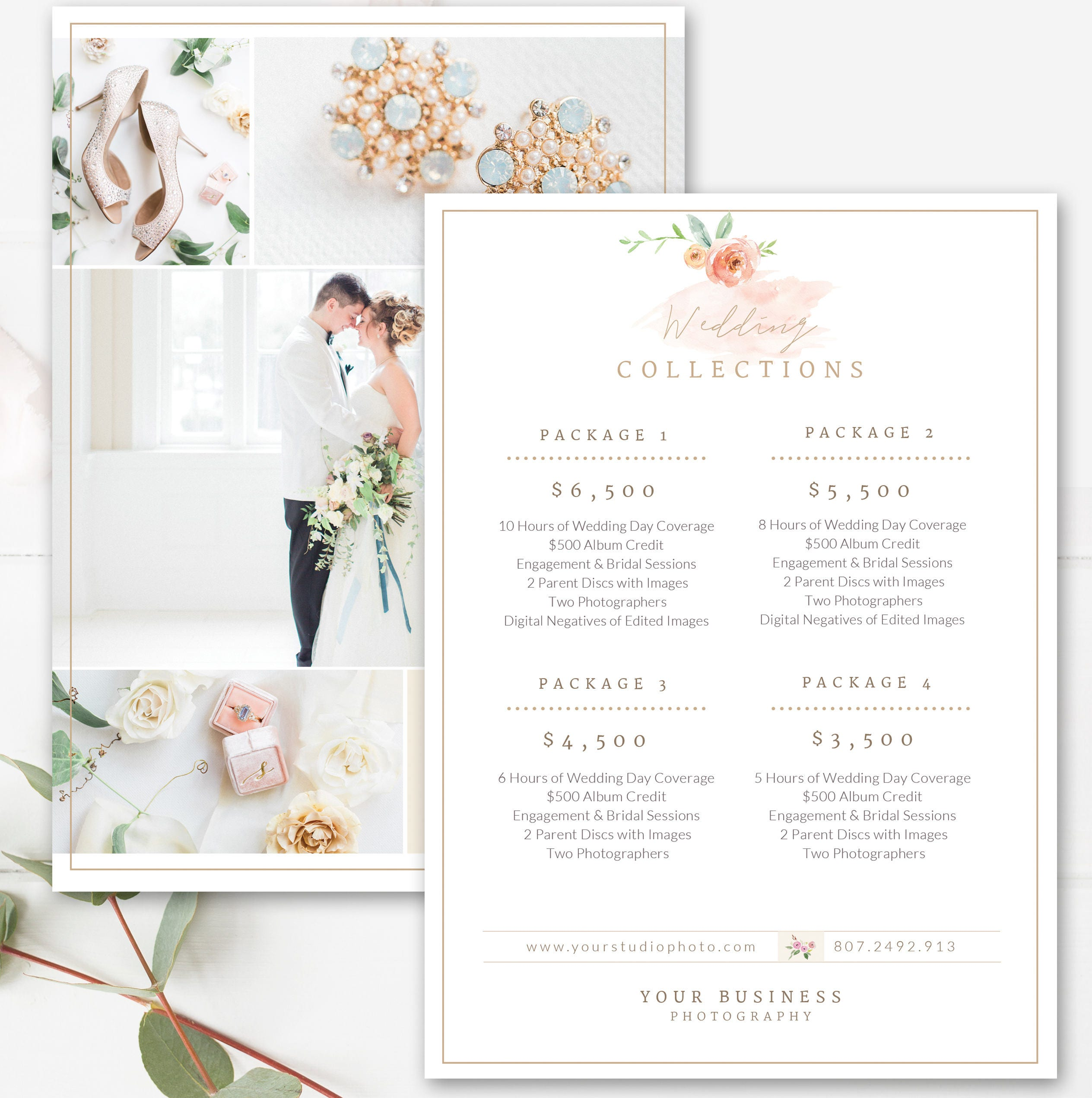 Photography price list template wedding price sheet for Wedding photography packages samples
