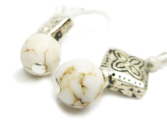 Howlite Drops - Howlite Stone and Pewter Wire Wrapped Dangle Earrings