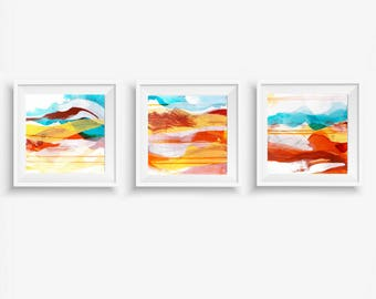 Set of 3 Digital Prints, Abstract Printable Art, Abstract Triptych Art Prints, Square Prints, Turquoise Yellow Orange White